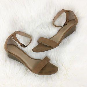 Old Navy Beige Suede Ankle Strap Wedge Sandals